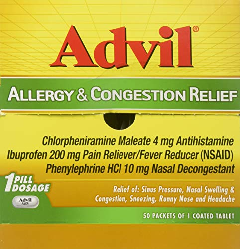 Advil Allergy & Congestion Relief 200mg Pain Reliever Fever Reducer: 50 Packets of 1 Coated Tablet - Tj18