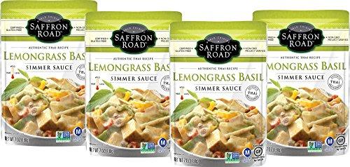 Saffron Road Simmer Sauce, Non-GMO, Gluten-Free, Halal, Kosher, Vegan, Lemongrass Basil, 4 Count, 7 oz