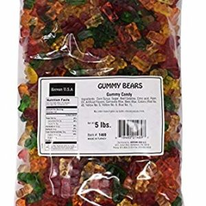 Kervan Gummy Candy, 6 Color Gummy Bears, Bulk 5 Pound Bag