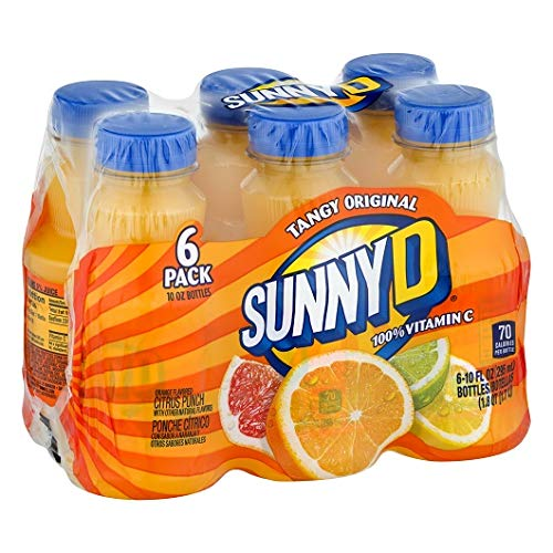 Sunny D Fruit Juice, Orange, 10 Fl Oz, 6 Count (Pack of 4)