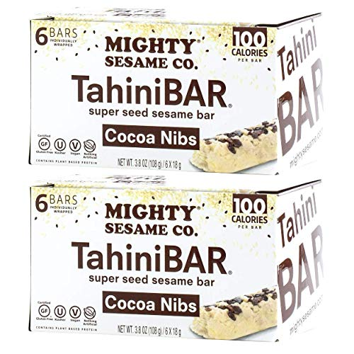 Mighty Sesame TahiniBars With Cocoa Nibs (2 Pack, Total 12 Bars)