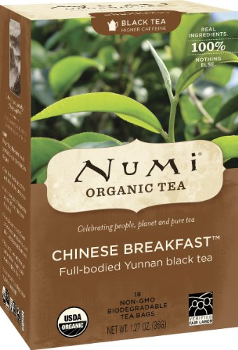 Numi Organic Tea Chinese Breakfast, Full Leaf Tea Bags, 18 Count