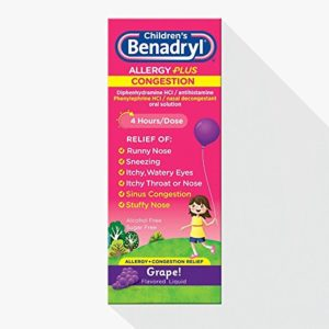 Benadryl Benadryl-D Childrens Allergy And Sinus Liquid Grape, Grape 4 oz (Pack of 3)