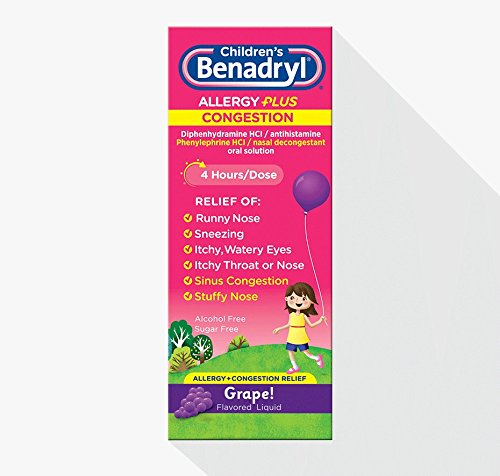 Benadryl Benadryl-D Childrens Allergy And Sinus Liquid Grape, Grape 4 oz (Pack of 3)