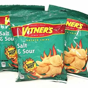 Vitners Sizzlin Hot Salt & Sour Potato Chips A Chicago Original 10 Pack 1 oz Bags