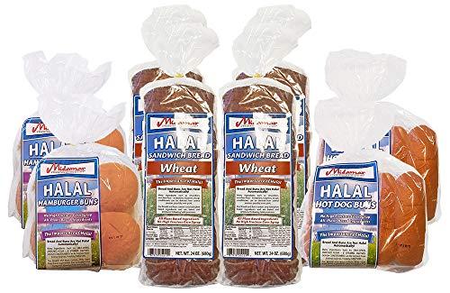 Halal Bread Variety - 2 loaves Wheat Sandwich - 2 Burger Buns - 2 hot dog buns