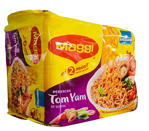 Maggi 2 Minute Noodles Tom Yam Flavour - 80g - Pack of 5 (80g x 5)