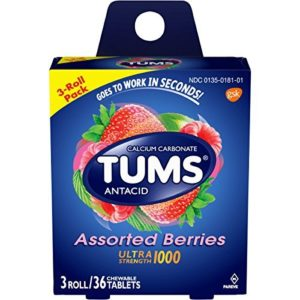 TUMS Ultra Strength Assorted Berries Antacid Chewable Tablets for Heartburn Relief, 3 rolls of 12ct