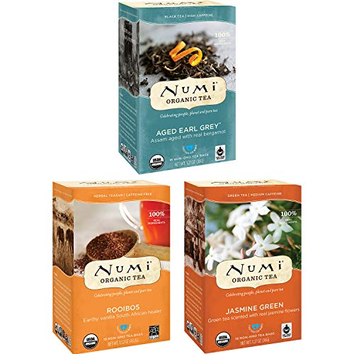 Numi Organic Tea Variety Pack, 18 Count Box of Tea Bags (Pack of 3), Jasmine Green, Aged Earl Grey & Rooibos Teas (Packaging May Vary)