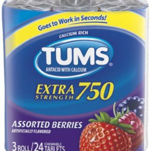TUMS Extra Strength Assorted Berries Antacid Chewable Tablets for Heartburn Relief, 4 pack of 3 rolls of 12ct