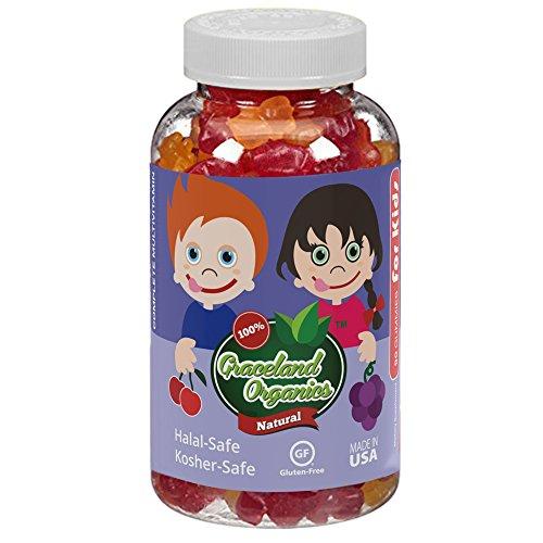 Graceland Organics 90 Kosher-Safe, Halal-Safe Gummy Bears Vitamins For Kids 2+ Years Old, Nutritional Supplement, Healthy Natural Colors & Flavors, Children Gummies Complete Multivitamin