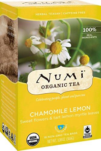 Numi Organic Tea Chamomile Lemon, Caffeine-Free Herbal Teasan, 18 Count non-GMO Tea Bags (Pack of 3)