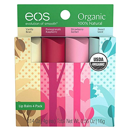 eos Natural & Organic Stick Lip Balm | Variety Pack | Strawberry Sorbet, Sweet Mint, Vanilla Bean, and Pomegranate Raspberry | Certified Organic & 100% Natural