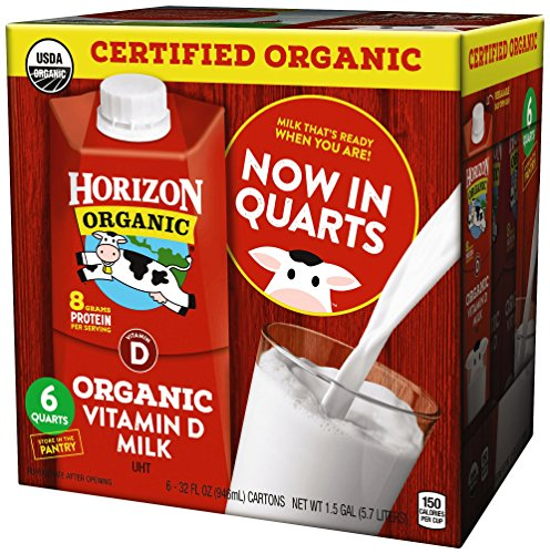 Horizon Organic, Whole Organic Milk, 32 Ounce (Pack of 6), Shelf Stable Organic Whole Milk, 1 Quart Carton, Great for the Pantry, Carton Locks in Fresh Taste Without Refrigeration or Preservatives