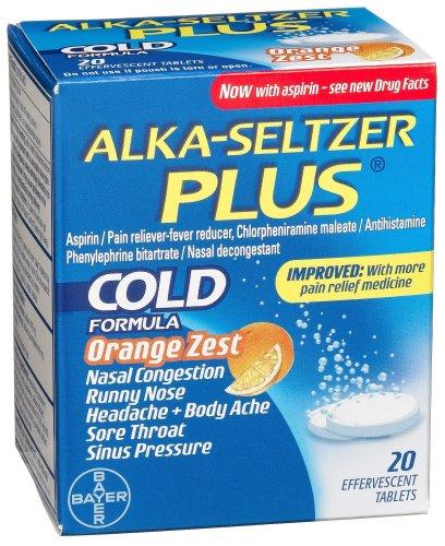 Alka-Seltzer Plus Cold Medicine, Orange Zest, 20-Count Effervescent Tablets