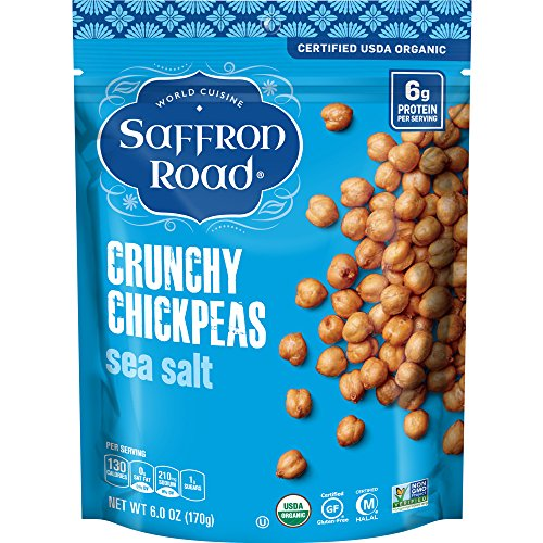 Saffron Road Organic Crunchy Chickpeas, Non-GMO, Gluten-Free, Halal, Sea Salt, 6 Ounce