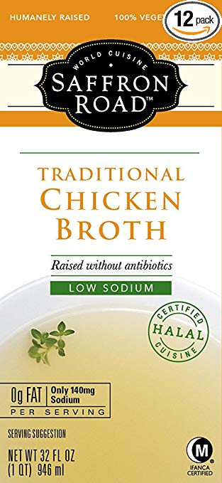 Saffron Road Classic Vegetable Broth with Low Sodium, 32 Ounce (Pack of 12)