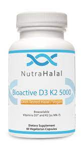 NutraHalal BioActive D3 K2 5000 - DNA-Tested Vegan and Halal - All Natural - Non-GMO - 5000iu of D3-90 mcg of K2 - Gluten, Dairy, and Soy Free - 60 Vegetarian Capsules