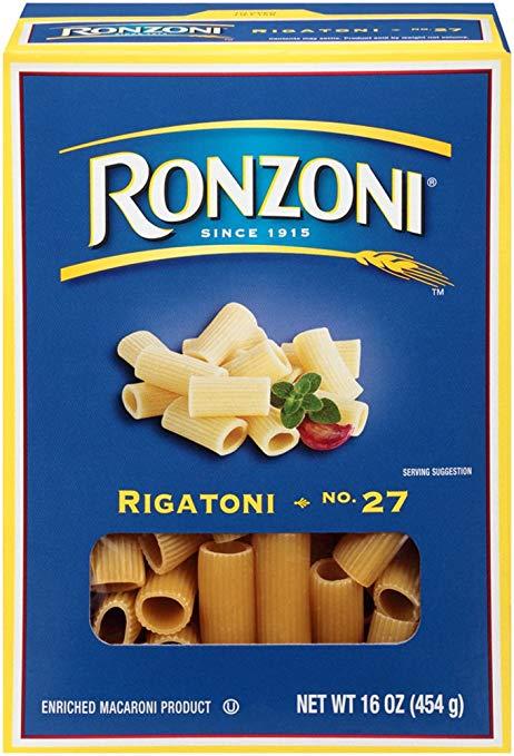 Ronzoni Rigatoni, 16 oz (Pack of 12)