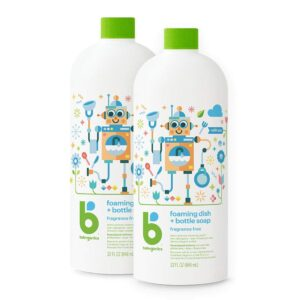 Babyganics Foaming Dish and Bottle Soap Refill, Fragrance Free, 32oz Bottle (Pack of 2)