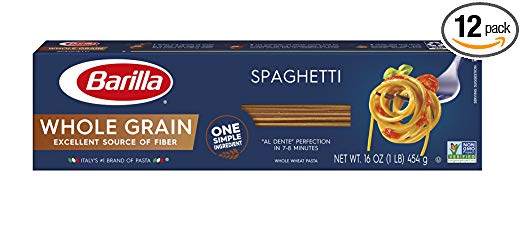Barilla Whole Grain Pasta, Spaghetti, 16 Ounce (Pack of 12)