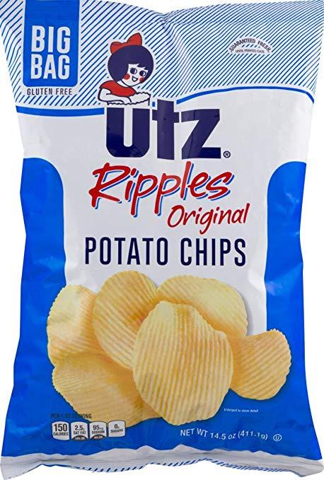 Utz Ripples Original Potato Chips in a 14.5 oz. Big Bag (3 Bags)
