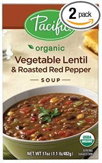 Pacific Foods, Organic Vegetable Lentil & Roasted Red Pepper Soup (Pack of 2)