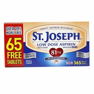 St. Joseph Aspirin Pain Reliever, Enteric Safety Coated, Low Dose, Doctor Recommended, 81mg (365 Tablets)