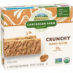 Cascadian Farm Organic Crunchy Granola Bar non-GMO Peanut Butter 10 Bars In 5 - 1.42 oz