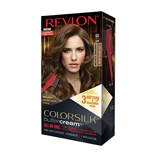 Revlon Colorsilk Buttercream Hair Dye, Light Natural Brown, 1 Count