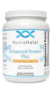NutraHalal Enhanced Protein Plus – Halal DNA Tested – Vegan, Sugar and Stevia Free – (Dutch Chocolate)