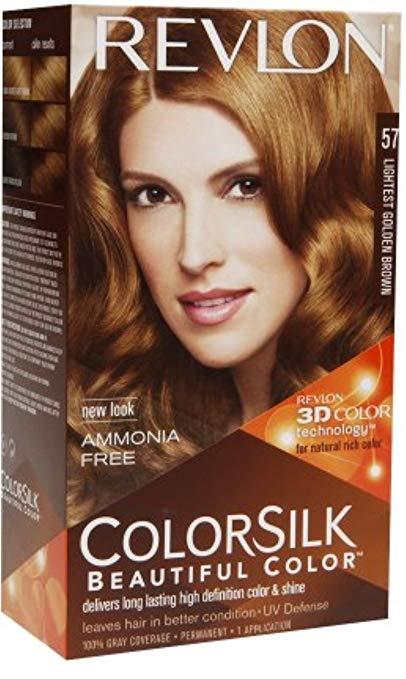 Revlon ColorSilk Beautiful Color Permanent Hair Color, 57 Lightest Golden Brown 1 Each