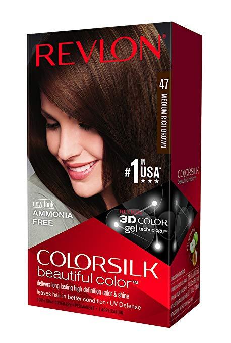 Revlon ColorSilk Hair Color, Medium Rich Brown [47] 1 ea (Pack of 3)