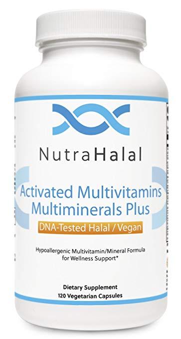 NutraHalal Advanced Formula Activated Halal MultiVitamin & MultiMineral - Halal DNA Tested Vitamin B, C, D, D3, E, B Complex – 120 Count