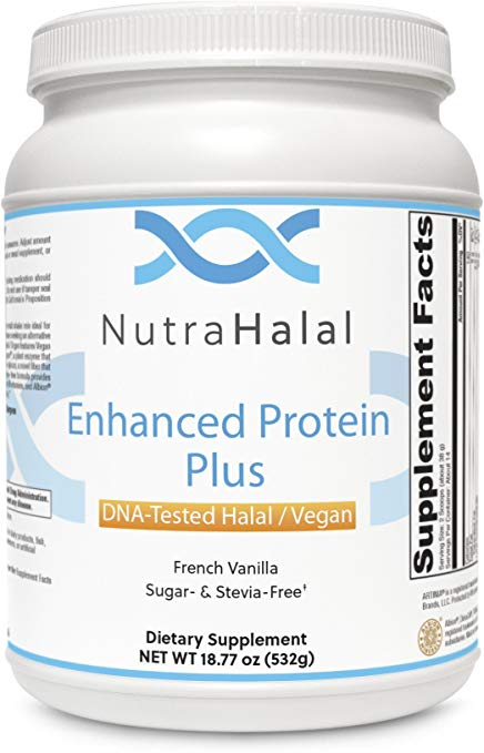 NutraHalal Enhanced Protein Powder Plus – Halal DNA Tested – Vegan, Sugar and Stevia Free – (French Vanilla)