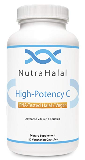 NutraHalal Advanced Vitamin C Formula - Halal DNA Tested High Potency Vitamin C for Men, Women and Children – 120 Count
