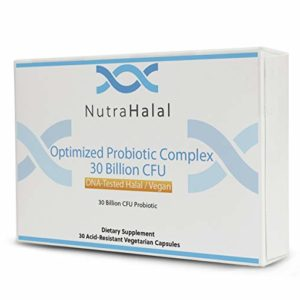 NutraHalal Optimized Probiotic Complex – Halal DNA Tested for Men, Women and Children – 30 Count