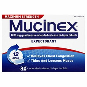 Chest Congestion, Mucinex Maximum Strength 12 Hour Extended Release Tablets, 42ct, 1200 mg