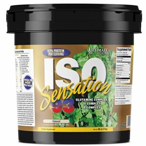 Ultimate Nutrition ISO Sensation 93 100% Whey Protein Isolate Powder with 30 Grams of Protein - Low Carb, Keto Friendly, Natural, 5 Pounds
