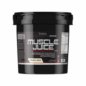 Ultimate Nutrition Muscle Juice Revolution Weight and Muscle Gainer Protein Powder with Egg Protein, Micellar Casein, and Maltodextrin, Cookies N Cream, 11.1 Pounds