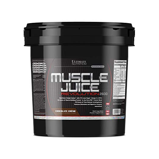 Ultimate Nutrition Muscle Juice Revolution Weight and Muscle Gainer Protein Powder with Egg Protein, Micellar Casein, and Maltodextrin, Chocolate, 11.1 Pounds