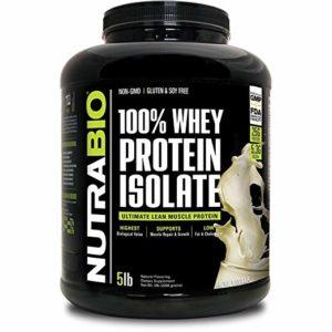NutraBio 100% Whey Protein Isolate (Vanilla, 5 Pounds)