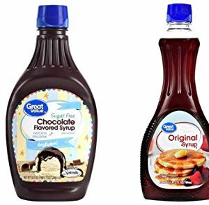 Great Value Chocolate Flavored Syrup, Sugar Free, 18.5 oz and (3 Pack) Great Value Original Syrup, 24 oz