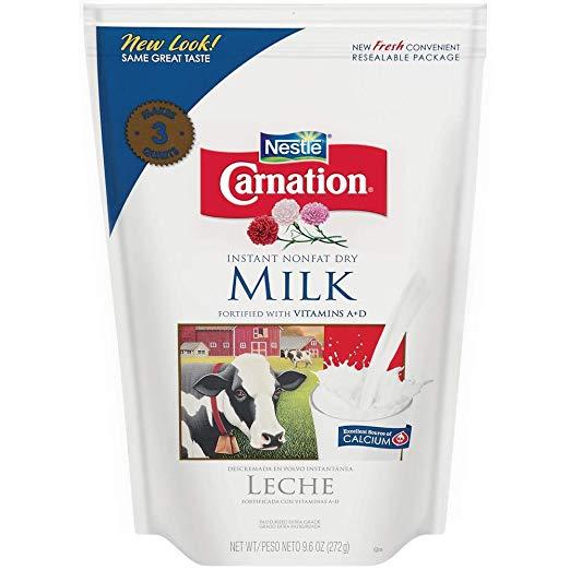 Nestle Carnation Instant Nonfat Dry Milk, 9.6 Ounce Pouch