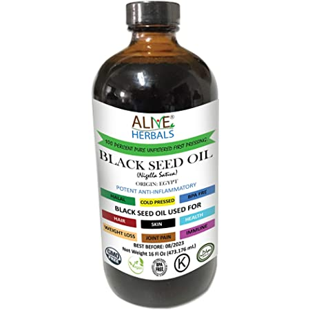 Alive Herbal Black Seed Oil Indian, Cold Pressed Organic -100% Raw, First Pressing, Unfiltered, Vegan & Non-GMO, No Preservatives & Artificial Color Amber Glass 16 OZ