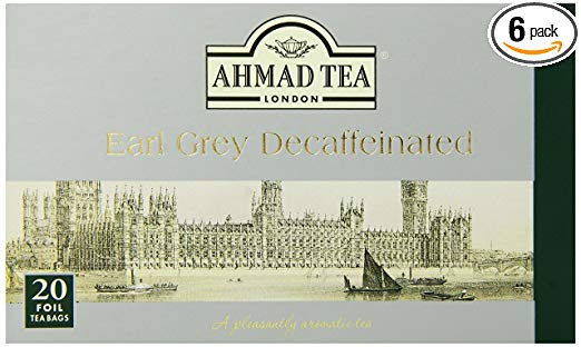 Ahmad Tea Decaffeinated Earl Grey Tea, 20-Count Boxes (Pack of 6)