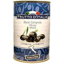 Frutto D'Italia, Black Cerignola Olives, with Pits, Imported from the Province of Puglia, Italy, 140.8 oz