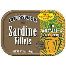 BRUNSWICK Wild Caught Sardine Fillets in Mustard and Dill Sauce, 3.75 Ounce Cans (Pack of 18)