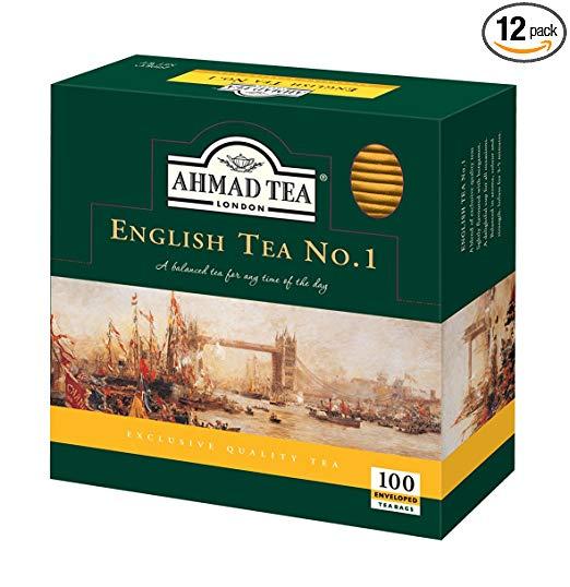Ahmad Tea English Tea Teabag, Enveloped, 100 Count (Pack of 12)