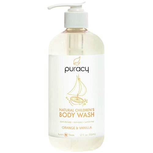 Puracy Natural Children's Body Wash, Tear-Free Kid's Soap, Sulfate-Free, Orange & Vanilla, 12 oz